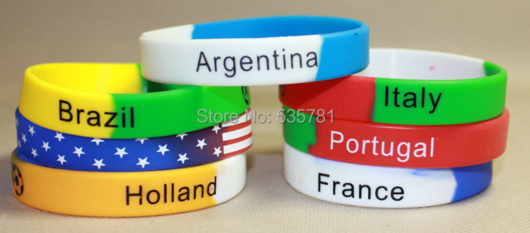 1pcs free shipping brazil world cup 2014 silicone wristband letter bracelets bangles sport football souvenirs cheap BR054(China (Mainland))