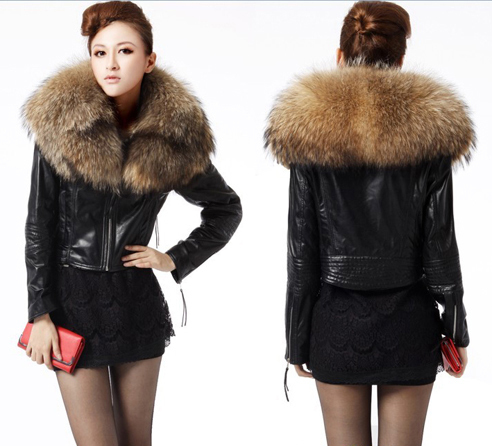 Leather Jacket With Fur Collar Photo Album - Reikian