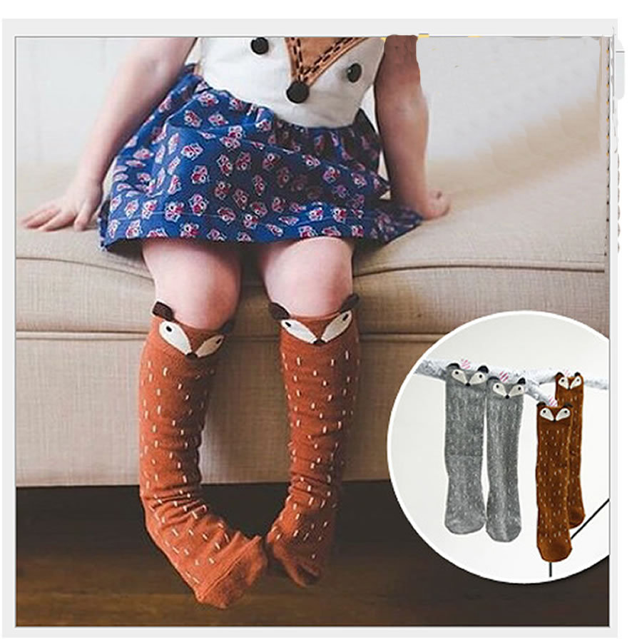 fox socks Lovely 3D Fox Baby Leg Warmers Socks For Children Boys Girls Non-slip Cotton Kids Socks Meias Calentadores Piernas