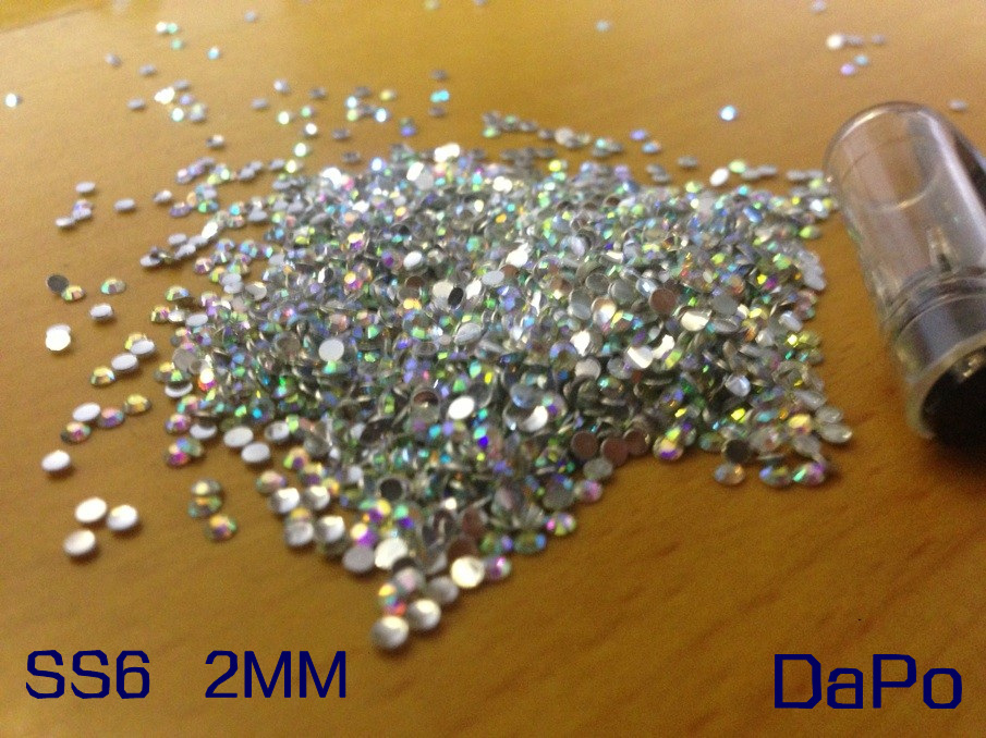 SS6 2MM 10000Pc/Lot Crystal AB Flat Back Acrylic Rhinestones For Nail Art(China (Mainland))