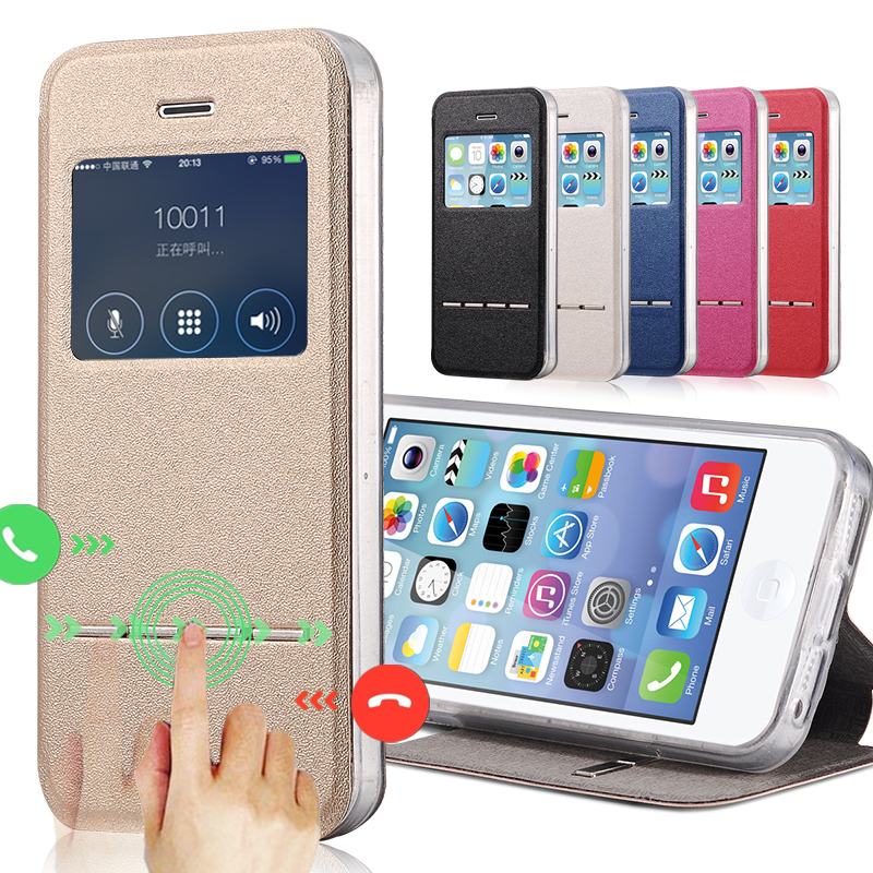 Deluxe Smart Window View Leather Case for iPhone 5 5S Flip Leather Cover Sliding Answer Call Phone Shell(China (Mainland))