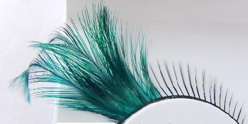Peacock green long artificial false eyelashes(China (Mainland))