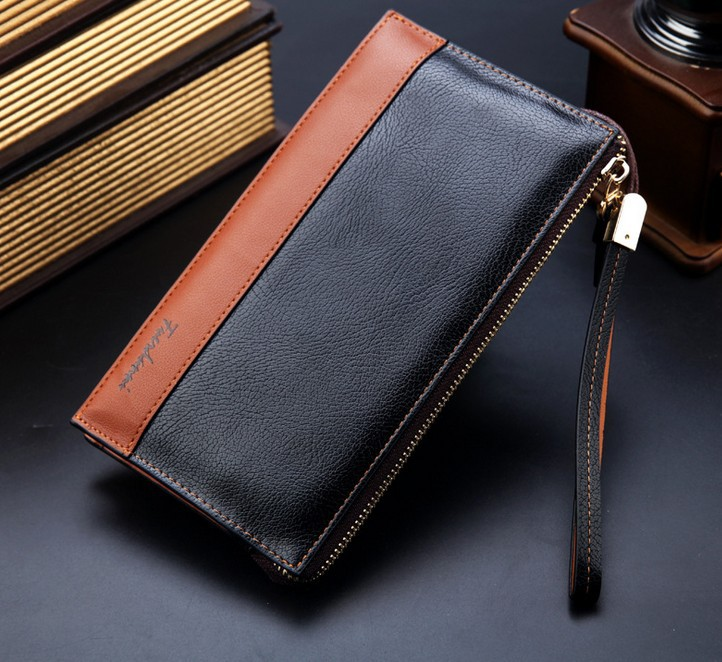 Men Leather With PU Personalized Large Capacity Commercial Clutch Bag Wallet Card Holder Male Fasion Long Purse Bag European(China (Mainland))