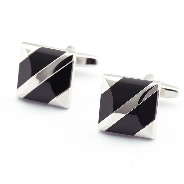 Wedding Black Onyx Stripe Cuff Link, Men's Square shape Simple Style Popular Cufflinks Electroplating Process(China (Mainland))