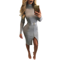 Women Winter Dress Belted Party Dresses Women Autumn Long Sleeves Bodycon Army Green Office Black Gray