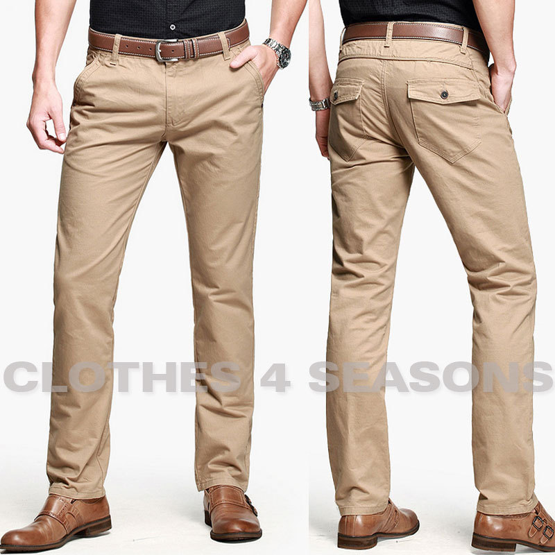 Mens Khaki Slim Fit Pants