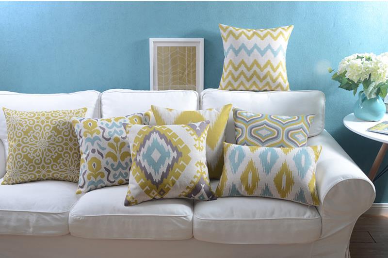 """18 """" quadrado geométrico abstrato de algodão de linho capa de almofada Ikea sofá cadeira carro casa decorativo jogar travesseiro fronha almofadas"""