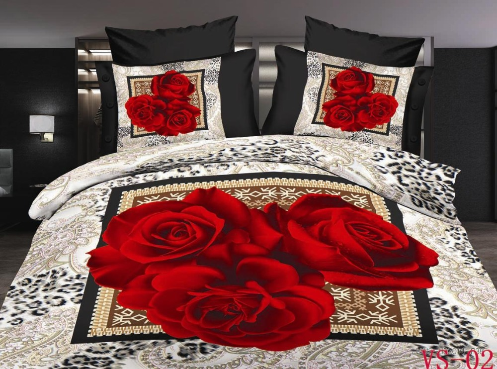Vintage rose bedding set red yellow purple duvet cover - Drap housse king size ...