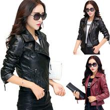 Hot New 2015 Women Faux Leather Jackets jaqueta couro Winter Coat veste en cuir femme Black Red Biker Motorcycle Jacket Cheap Z1(China (Mainland))