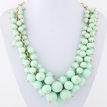 European and American fashion metal all match candy grape strung quality beads necklace woman jewlery