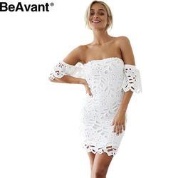 BeAvant  Off shoulder elegant white lace dress Women sexy bodycon summer dress 2016 evening party short dresses vestidos