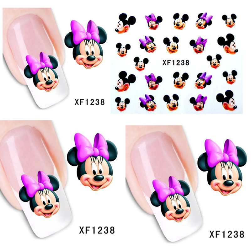 1sheets New Fashion Charm Cute Mouse DIY Designs Nail Art Stickers Decals Wraps Decorations Salon Nail Supplies XF1238(China (Mainland))