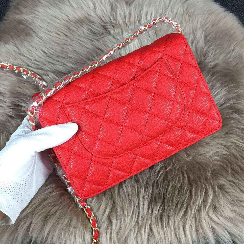 Womens CC Brand Classial Mini 20CM Maxi Jumbo Quilted Chain Caviar Leather  Bag Women Shoulder Bag Genuine Leather C bag K100<br>