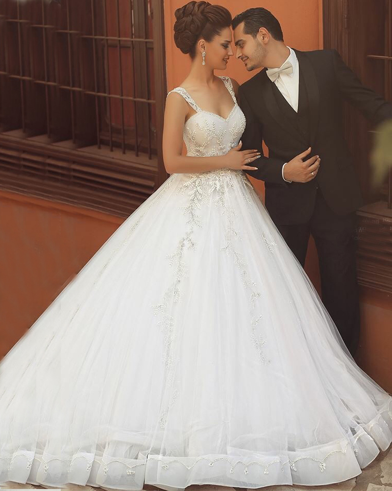 Puffy Wedding Dresses White Tulle Said Mhamad 2016 Cap Sleeve Custom Made Cinderella Ball Gown