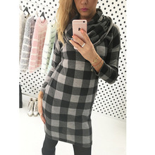2016 Spring New Women Mini Dress High Collar Plaid Check Tartan Print Long Sleeve Vintage Style Office Dress high quality