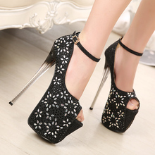 HOT 2016 new OL sexy women pumps super beautiful bright rhinestones 19cm high fish head  women's shoes size(35-40)