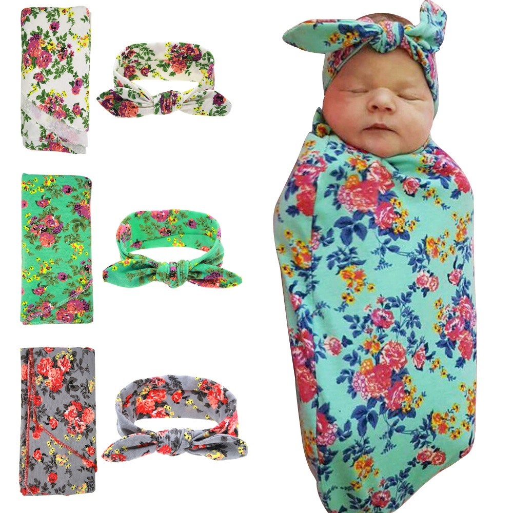 Newborn Swaddle & headwrap Hospital Swaddled Set Floral baby swaddle set Headband Baby photo prop Top knots 1pc HB568(China (Mainland))