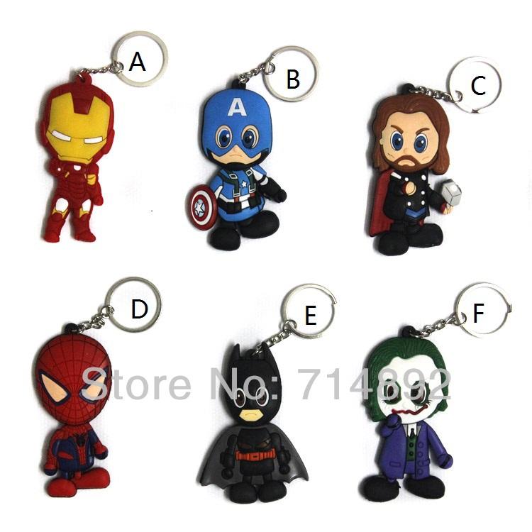 60pcs/set The Avengers Keychain Batman / Iron Man / Thor / Spider Man / Captain America / Joker PVC Sided Pendants Mini Toys<br><br>Aliexpress