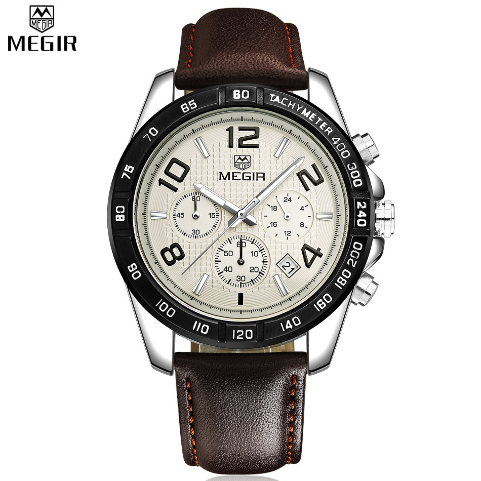MEGIR Watch Male Chronograph Genuine Leather Watches Men Waterproof Shock Analog Quartz Army Military Casual Sports Watches Boy<br><br>Aliexpress