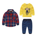 2015 New Spring Kids 3pcs Clothing Sets for Boys European Style Plaid Character Suits T shirt