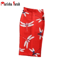 Women Summer Autumn Bodycon Print Pencil Skirt Midi Knee-Length Elastic High Waist Ladies Dragonfly Pattern Faldas Middle Skirt