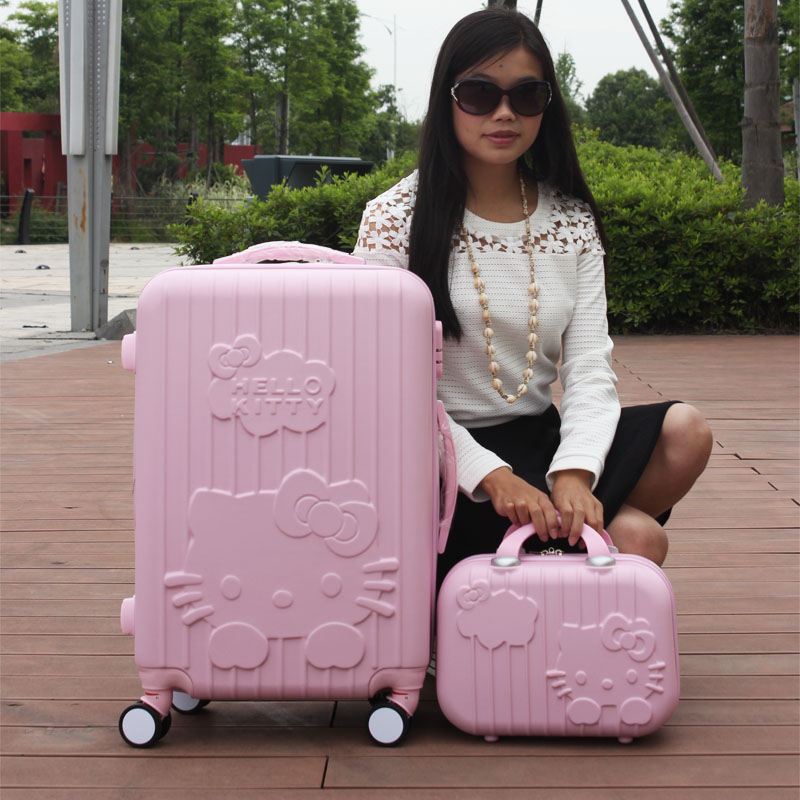 """20 """"inches Hello Kitty suitcase Sets, universal wheels trolley, brightly colored luggage, fashion travel bag, female cartoon box(China (Mainland))"""