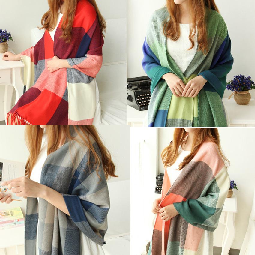 2016 Fashion Wool Women Scarf Spain Scarf Plaid Thick Large Scarf Women Warp echarpes Scarves Shawl
