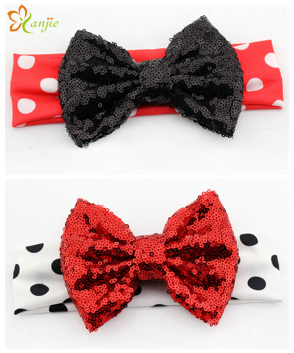 10pcs/lot Chic Lovely Girl Minnie Mouse Elastic Dot Infantile Headband DIY Hair Accessories For Kids 2016 New Headwear Turbante(China (Mainland))