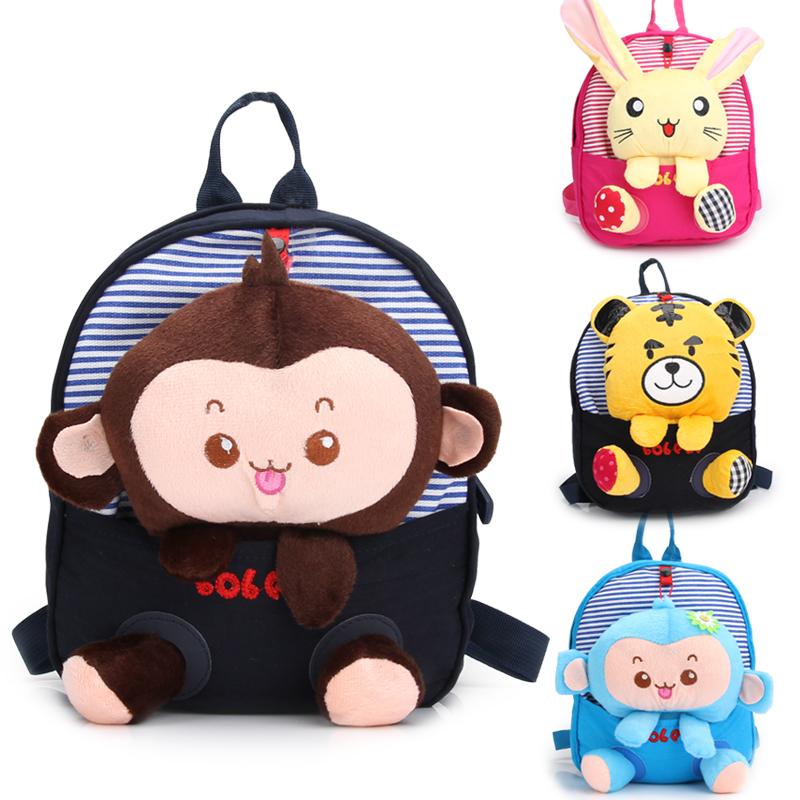 New 2015 Hot Sale Plush Doll Children Cartoon Bag Cut Monkey and Cat Satchel Kids Animal Backpack Children Cute School Backpacks(China (Mainland))