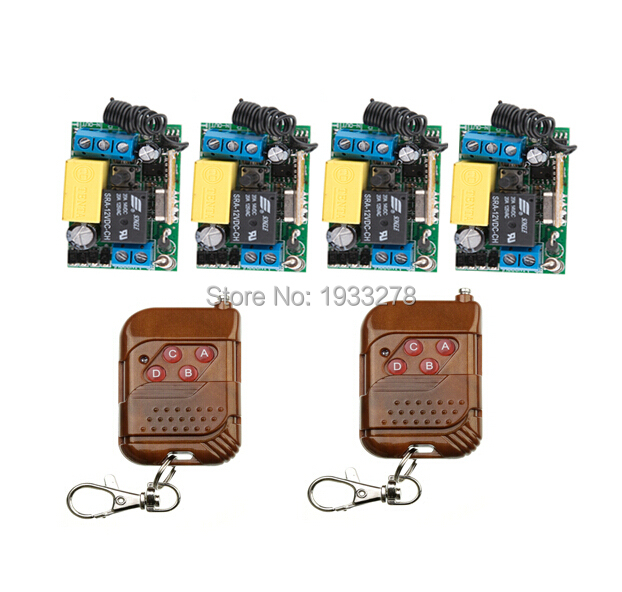 Wireless remote control switch RF AC 220 V 10 A 1 channel 2 Transmitter and 4 Receiver Learning code Simple operation(China (Mainland))
