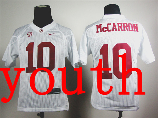 New Arrival Nike Youth Nike Alabama Crimson Tide AJ McCarron 10 White College T-shirt Jersey(China (Mainland))