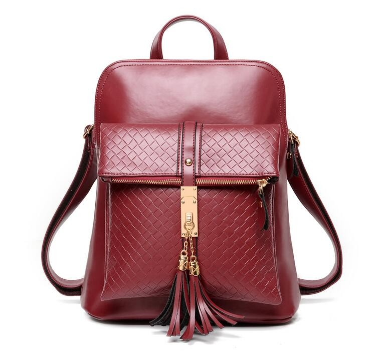 2015 New Winter Women Genuine Leather Travel Shoulder Backpack Famoud