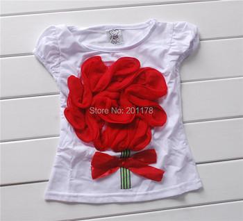114#  free shipment summert girls tees with flower
