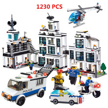 2016 WOMA Brand 1230pcs City Police Station building blocks Action Figures set helicopter jail cell Compatible with Legoe