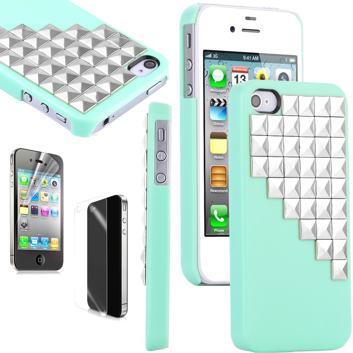 3 Units ULAK 3D Bling Cute Pyramid Punk Studs Hard Back Case Cover Skin For iPhone 4/iPhone 4S (Silver Rivet+Green)(China (Mainland))