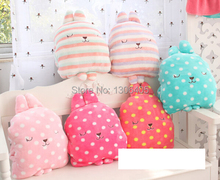 Polka Dot Striped Coral Fleece Flannel Blanket Rabbit Pillow Hand Warmer Free Shipping(China (Mainland))
