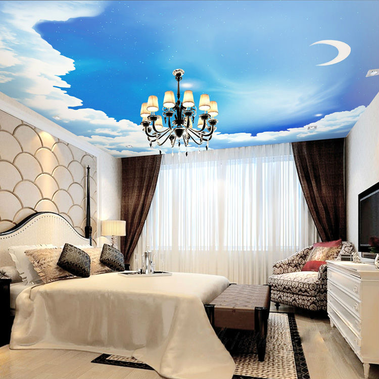 blauen himmel fototapete 3d galaxy tapete sterne mond decke schlafzimmer kinderzimmer dekor bar. Black Bedroom Furniture Sets. Home Design Ideas