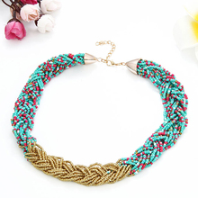 2016New Fashion Maxi Necklace Gold Alloy Rice Beads Collares Bohemian Necklace Multi Layer Twist Jewelry Accessories Bijoux