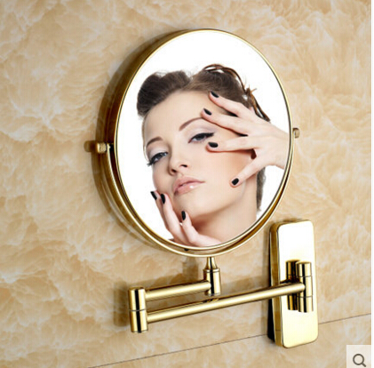 Hot Sale Bathroom Mirror Gold Wall Mounted 8 inch Brass 3X/1X Magnifying Mirror Folding Makeup Mirror Cosmetic Mirror Lady Gift
