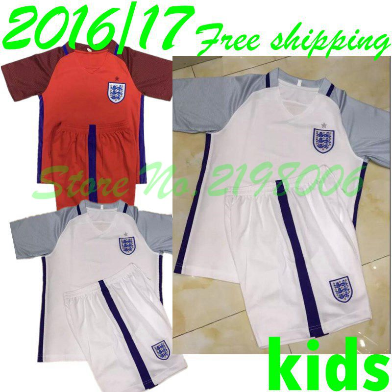 2016 2017 kids best quality EURO new survetement football home away kids Englanders soccer jerseys And shorts(China (Mainland))