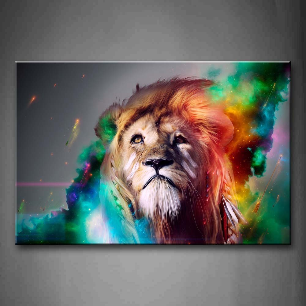 item  Hand Painted Canvas Oil Painting of Lion Colorful by Artist