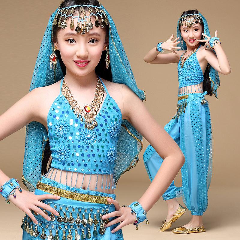 2016 Sari Children Indian Dance 5-piece Girls Costume Set (Top, Belt, Pants and Head Pieces) Bollywood Dance Costumes(China (Mainland))