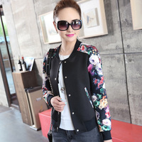 Women Jacket Coat Baseball Coat Tops Female Nations Wind Printed Short Thin Outwear Plus Size XXL 2015 New