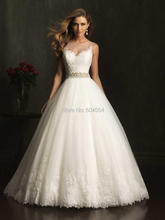 Buy Vestido De Novia 2017 Custom Made White/Ivory Tulle Satin Appliques Beading Crystal Lace A-Line Wedding Dress Bridal Dresses for $216.00 in AliExpress store