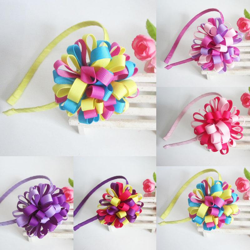 girls flower hairbands kids baby girl Headwear children hair accessories headwear 1404HE004 - Monica Moon's store