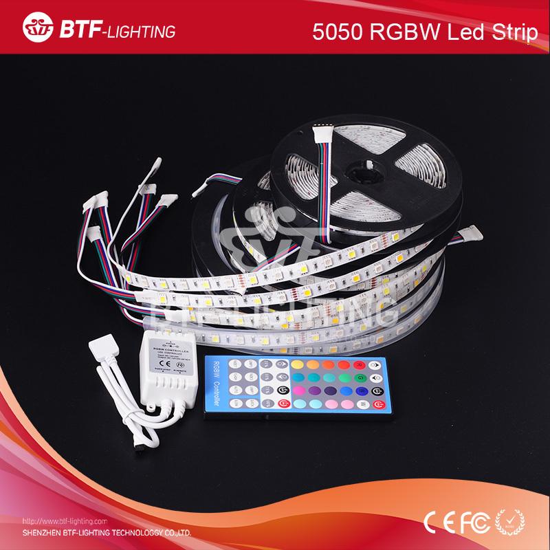 5m 60leds/m 5050 RGBW led strip RGB+Cold White/Warm White Waterproof IP30/IP65/IP67 Black PCB DC12V + 40key IR remote controller - Shenzhen BTF-Lighting Technology Co., Limited store