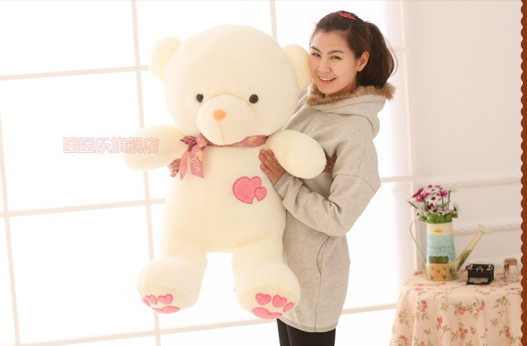 The lovely bow Teddy bear doll heart bear with loves on feet plush toy doll birthday gift pink about 110cm