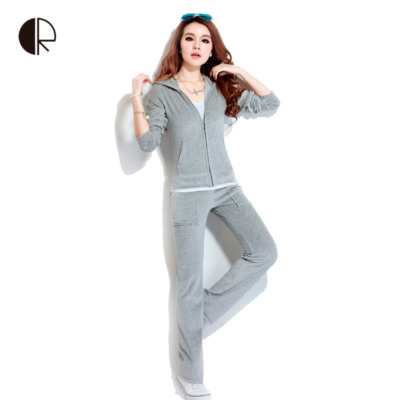 Spring / Fall 2016 Women'S Brand Velvet Fabric Tracksuits Velour Suit Women Sport Track Suit Hoodies And Pants Size S - 4XL(China (Mainland))