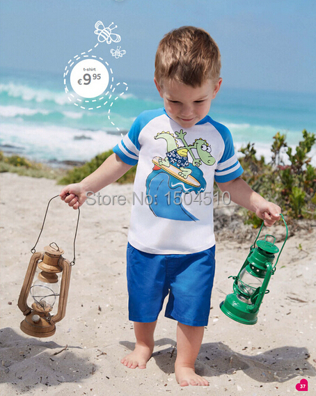 2015 baby boy clothing set summer Beach Set t shirt short pants kids boys cotton cartoon suit two pieces new - forbaby store