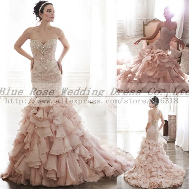 Pink Crystal Wedding Dress 2016 Vintage Sexy Mermaid Wedding Dresses Bridal Gown Robe de Mariage(China (Mainland))